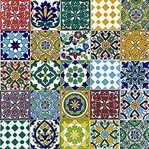 Cerames, Marokkaanse keramische tegels Pazzo- 50 oosterse Tunesische decoratieve tegels 10 x 10 cm voor de badkamer, de ke...