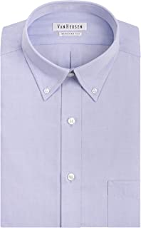 Van Heusen Men's Pinpoint Regular Fit Solid Button Down Collar Dress Shirt