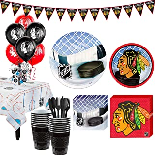 Party City Super Chicago Blackhawks Party Kit for 16 Guests, Includes Table Cover, Decorations and Tableware