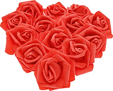 Juvale 100-Pack Artificial Rose Flower Heads for Wedding Decorations, Baby Showers, Crafts - Red, 3 Inches