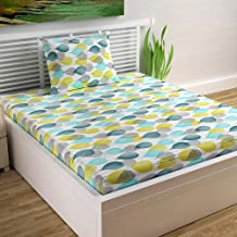 Divine Casa - Abstract 100% Cotton Single Bedsheet with 1 Pillow Cover, Yellow