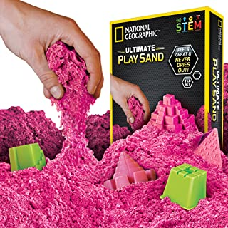 NATIONAL GEOGRAPHIC Play Sand - 2 LBS of Sand with Castle Molds and Tray (Pink) - A Kinetic Sensory Activity