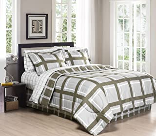 South Bay FULL/QUEEN Gridwork Printed Reversible Down Alternative Comforter Set, Gray/Chocolate