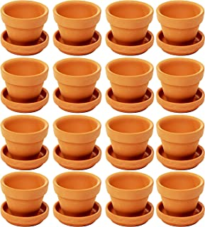 Juvale Mini Terra Cotta Pots with Saucer- 16-Pack Clay Flower Pots with Saucers, Mini Flower Pot Planters for Indoor, Outdoor Plant, Succulent Display, Brown - 1.9 x 1.5 inches