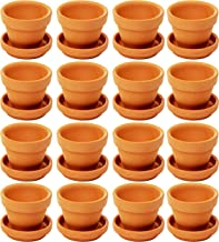 Juvale Small Terra Cotta Pots with Saucer- 16-Pack Clay Flower Pots with Saucers, Mini Flower Pot Planters for Indoor, Outdoor Plant, Succulent Display, Brown - 2.2 x 1.9 inches