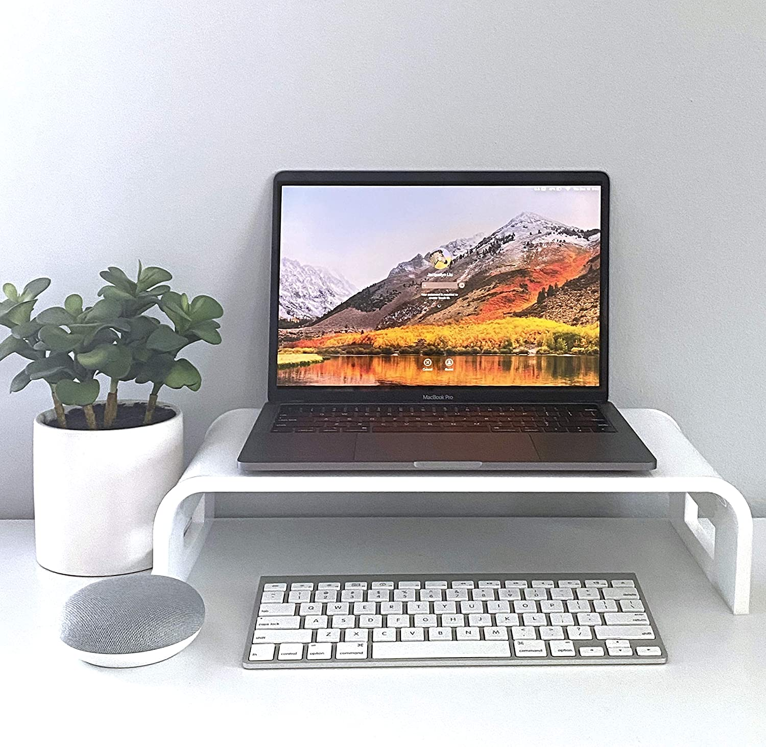 Adorox 12mm Thickness Heavy Duty 17'' Monitor Stand Riser Computer Stand PC Desk Stand for Keyboard Storage & Multi-Media Laptop Printer TV Screen (White, 17'')