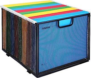 Hanging File Folder Organizer, Mesh Metal File Organizer Box Office Filing Crate Folder Holder Storage Box, Letter Size, B...