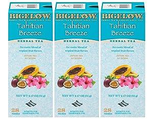 Bigelow Tahitian Breeze Herbal Tea Bags 28-Count Box (Pack of 3) Hibiscus, Rose Hips, Apple, Herbal Tea Bags All Natural Gluten Free