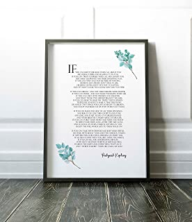Arvier Rudyard Kipling If Poem Rudyard Kipling Poetry Floral Poster Printable Quote Typographic Print Little Tiger If You can Keep Your Head Framed Wall Art