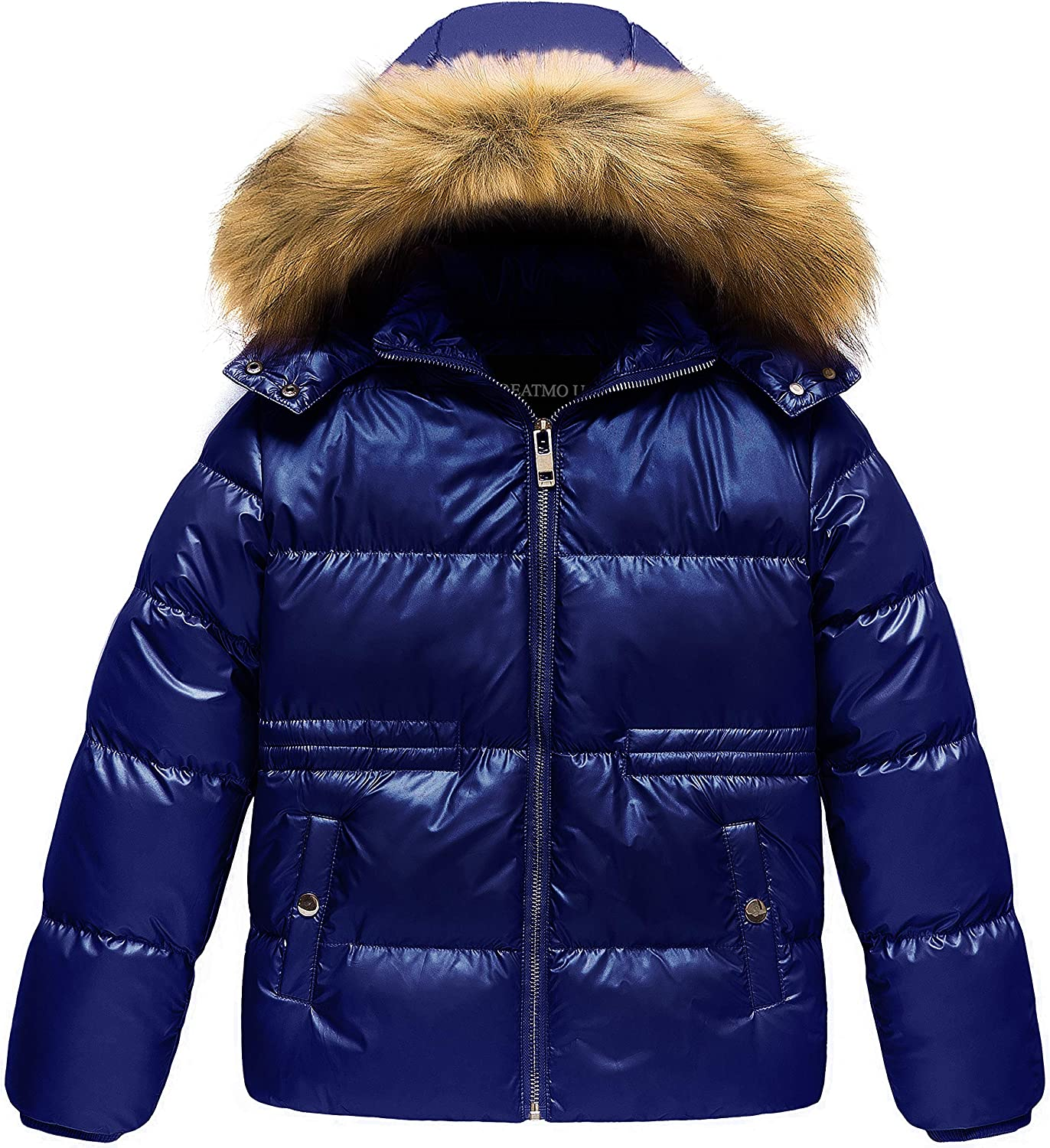 CREATMO US Girl's Kids Metallic Jacket Max 40% OFF Shiny In a popularity Fur with Detachable