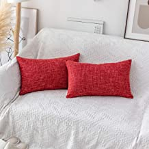 Kevin Textile Soft Linen Lumbar Throw Pillow Covers Square Decorative Cushion Case for Sofa Couch Home Decor 12x20 Inches/...