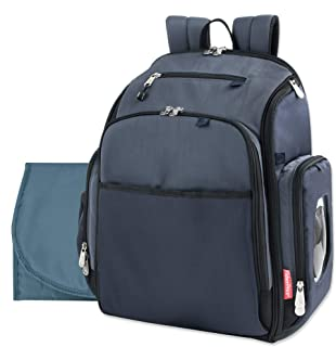 Fastfinder 3 Piece Set Diaper Bag Backpack for Moms & Dads with Changing Pad and Wipes Pocket