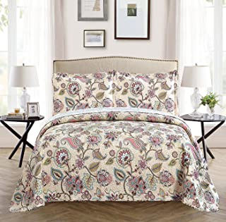 All American Collection 3 Piece New Printed Modern Floral Bedspread Coverlet, Floral, Over Sized Full/Queen, Beige
