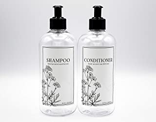 AylaMae 16.9oz Shampoo & Conditioner Pump Bottles | Clear Bottle with 2ml Leak Proof Pump Top