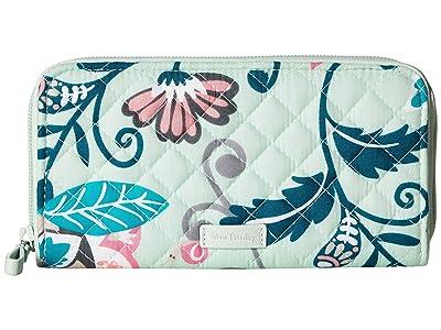 Vera Bradley Iconic RFID Georgia Wallet (Mint Flowers) Wallet Handbags