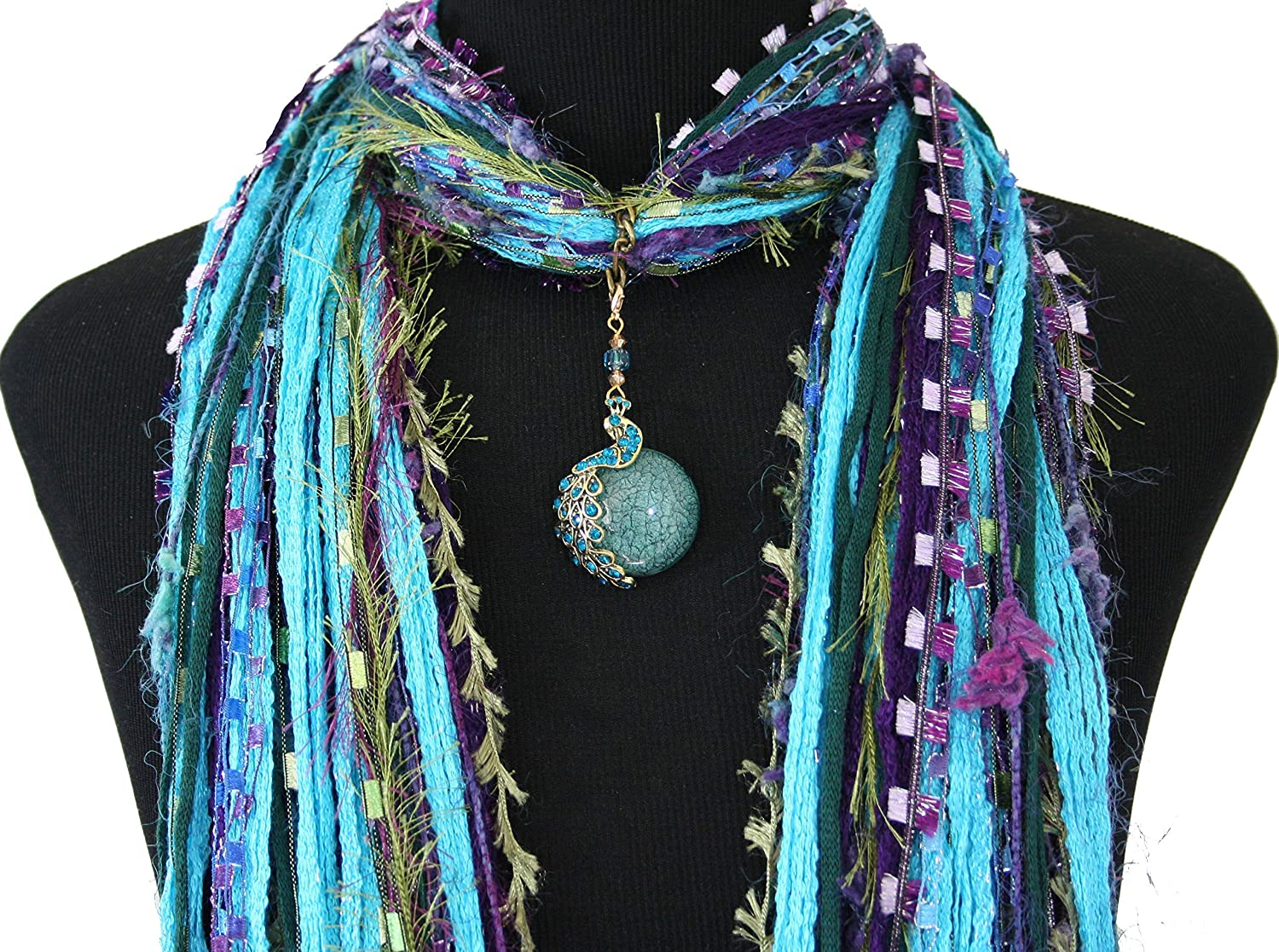 Peacock Max 71% OFF Pendant New Free Shipping Necklace Scarf - Color Turquoise Purple Green