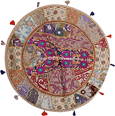 DK Homewares Indian Bohemian Floor Cushion Adult Beige 32 Inch Patchwork Living Room Pouffe Footstool Home Decor Embroidered Vintage Cotton Round Floor Pillow Boho 32x32