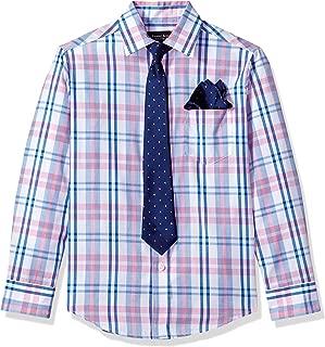 Steve Harvey Big Boys' Long Sleeve Solid Shirt and Tie Set