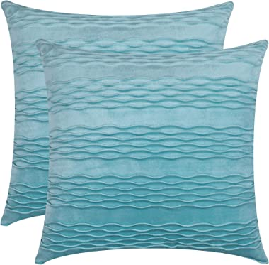 Dulce Dom Velvet Turquoise Throw Pillow Covers with Chic Wave Striped Design, Lustrous Decorative Pillow Cases for Sofa Couch
