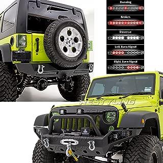 Restyling Factory -Rock Crawler Full Width Front Bumper w/ LED Lights Mount & Winch Plate+Rear Bumper w/ Twin 3rd brake LED Red Light Bar & 2