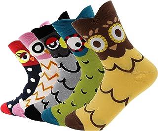 AnVei-Nao Womens Girls Stripe Cartoon Owl Pattern Cotton Soft Crew Socks 5 Pairs