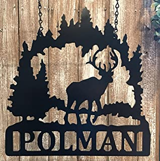 Deer Hunting Signs For Home Decor Custom Last Name ACM Metal Antler Wall Art - QUICK SHIP - 24in