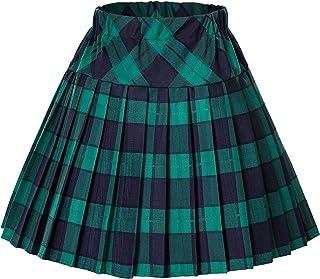 Urban CoCo Women`s Elastic Waist Tartan Pleated School Skirt