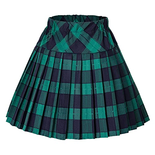 ac2b8f3a90b Urban CoCo Women s Elastic Waist Tartan Pleated School Skirt