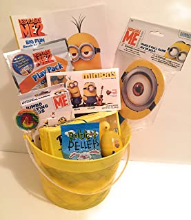 Despicable Me Easter Holiday Gift Basket or Birthday Basket 2 - Coloring Book, Paddle Ball, Play & Go Pack,Candy, Minions Sour Gummies,Playing Cards - 10 pieces