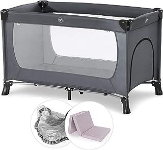 Hauck Baby Reisebett Set mit Matratze und Moskitonetz Dream n Play - faltbares Kinder Babyreisebett mit Tasche und seitlichem Eingang - Grau