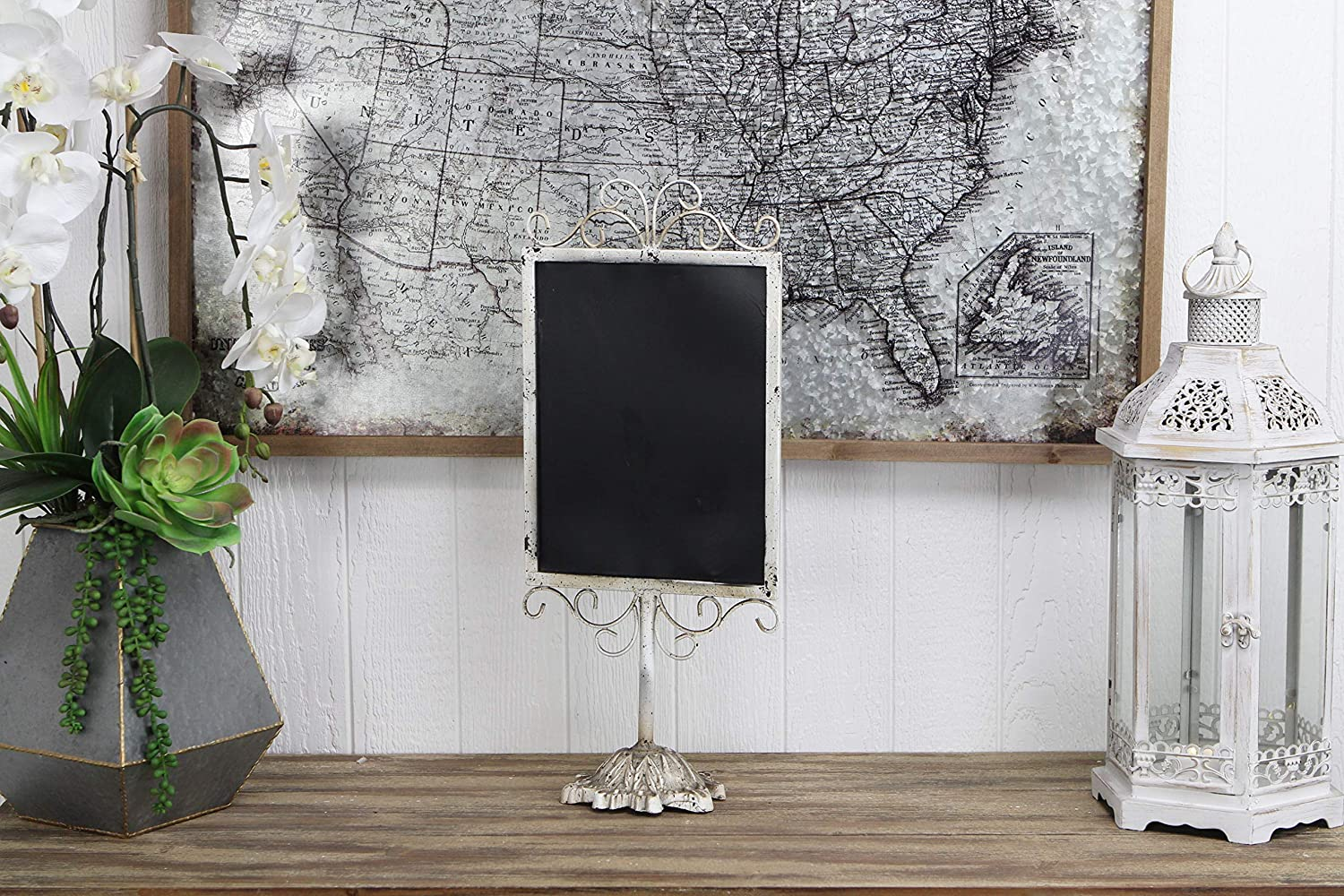 Cheung's White Shabby Chalkboard with Detailed Base, White, Black