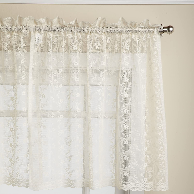 LORRAINE HOME FASHIONS Priscilla 60-inch x 24-inch Tier Curtain Pair, Ivory