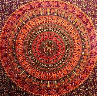 Tapiz hippie de elefante camello tapiz mandala para colgar en la pared, decoración del hogar (granate)
