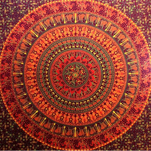 Camel Elephant Tapestry hippie tapestry mandala tapestry wall hanging wall decor home decor (Maroon)