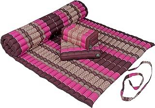 Kapok Dreams Yoga Futon Set: Kapok Mat (39x78x2)+ Block Cushion + seat Cushion. 100% Kapok. Burgundy & Pink