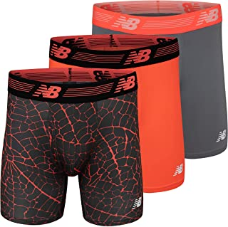 New Balance Men's 6 Boxer Brief Fly Front with Pouch, 3-Pack of 6 Inch Tagless Underwear