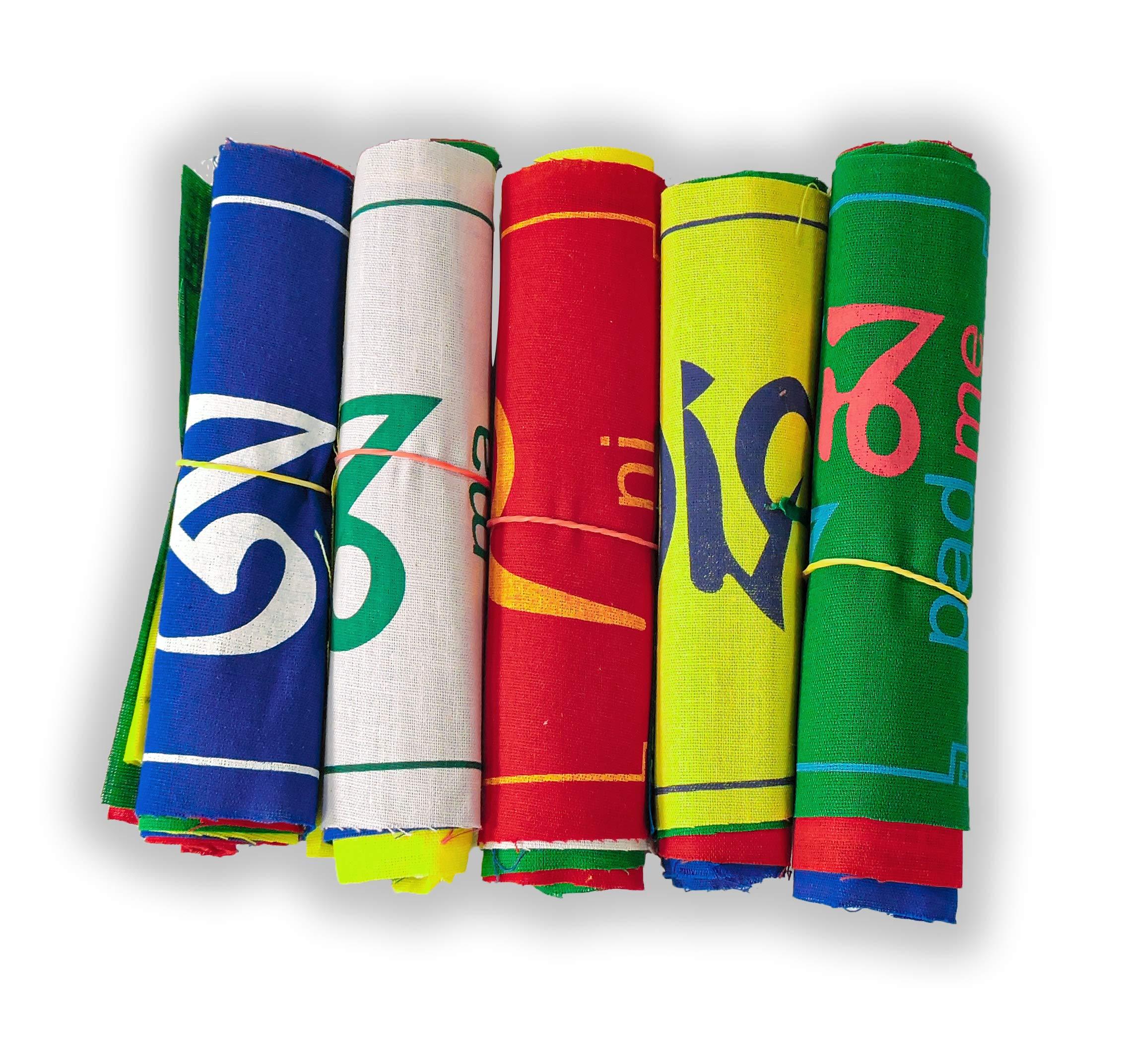 Om Mani Padme Hum banderas de oración 5 rollos 50 banderas: Amazon.es: Jardín
