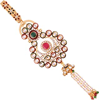 I Jewels Gold Plated Traditional Kundan & Pearl Chabi Challa/Challa Waist Key chain For Women (KC01QG)