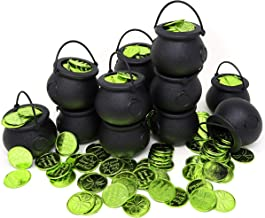 4E's Novelty St. Patrick's Day Irish Accessories 144 Green Shamrock 4-Leaf Clover Good Luck Coins With 12 Cauldron Candy Kettles Cups, Bulk Plastic Party Decorations, Kettle Candies Holder