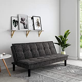 DHP Oscar Memory Foam, Full Size Armless Sofa Bed and Couch, Gray Futon,