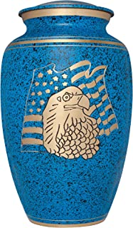 Liliane Memorials Blue Funeral Cremation Urn with American Flag Eagle Model in Brass for Human Ashes Suitable for Cemetery Burial Large Size Fits Remains of Adults up to 200 lbs, Large/200 lb