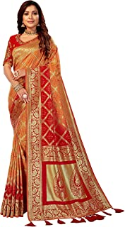 MANOHARI Women's Woven Silk Blend Saree With Un-stitched Blouse (MN868_Yellow)