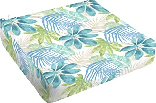 Mozaic AMCS115826 Indoor or Outdoor Square Chair Seat Cushion with Round Corners, 27 x 23 x 5, Tropical Blue & Green