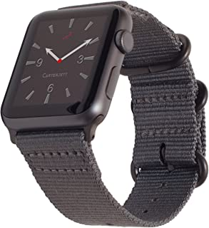 Carterjett Compatible with Apple Watch Band 42mm 44mm XXL Nylon NATO iWatch Band Replacement Strap Extra Large XL Long Woven Grey Sport Bands for Series 5 Series 4 3 2 1 (42 44 XXL Gray)