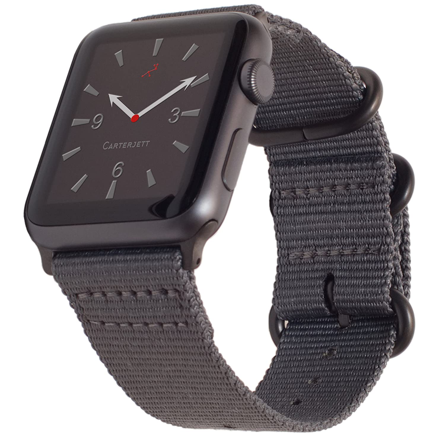 Carterjett Compatible Apple Watch Band 42mm 44mm XXL Nylon NATO iWatch Band Replacement Strap Extra Large XL Long Woven Grey Hardware Compatible Apple Watch Sport Series 4 3 2 1 (42 44 XXL Gray)