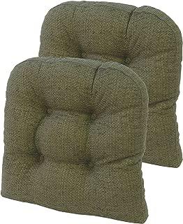 Klear Vu Tyson XL Overstuffed Large Tufted No Slip Dining Chair Pads, 2 Pack, Green