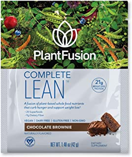 PlantFusion Complete Lean Plant Based Weight Loss Protein Powder   Supports Blood Sugar, Controls Appetite   Superfoods with Digestive Enzymes, Gluten Free, Vegan, Non-GMO, Chocolate Brownie, 12 Packs
