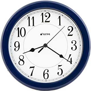 8.5 Inch Simply High-end Plastic Decorative Wall Clock, Water Resistant, Special for Small Space, Office, Boats, RV (W86064 Dark Blue )