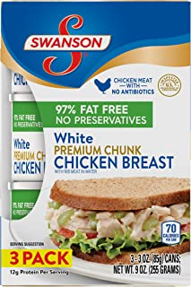 Swanson White Premium Chunk Chicken Breast with Rib Meat in Water, 3 oz., (Pack of 3)