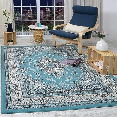 Antep Rugs Kashan King Collection Himalayas Oriental Polypropylene Indoor Area Rug Blue Cream 5 X 7 Furniture Decor